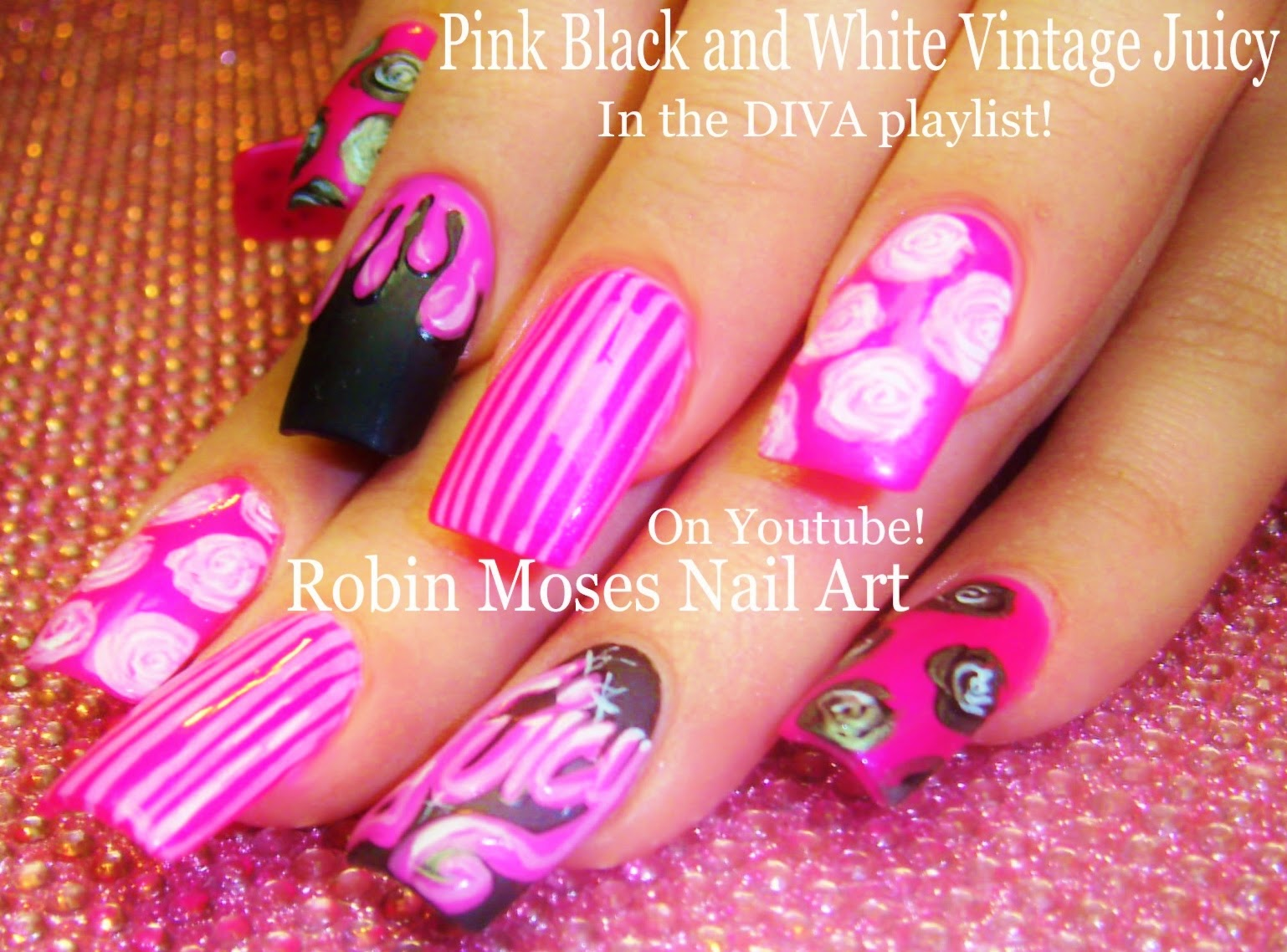 Nail Art by Robin Moses: Shabby Chic Antique meets Diva Prints in ...