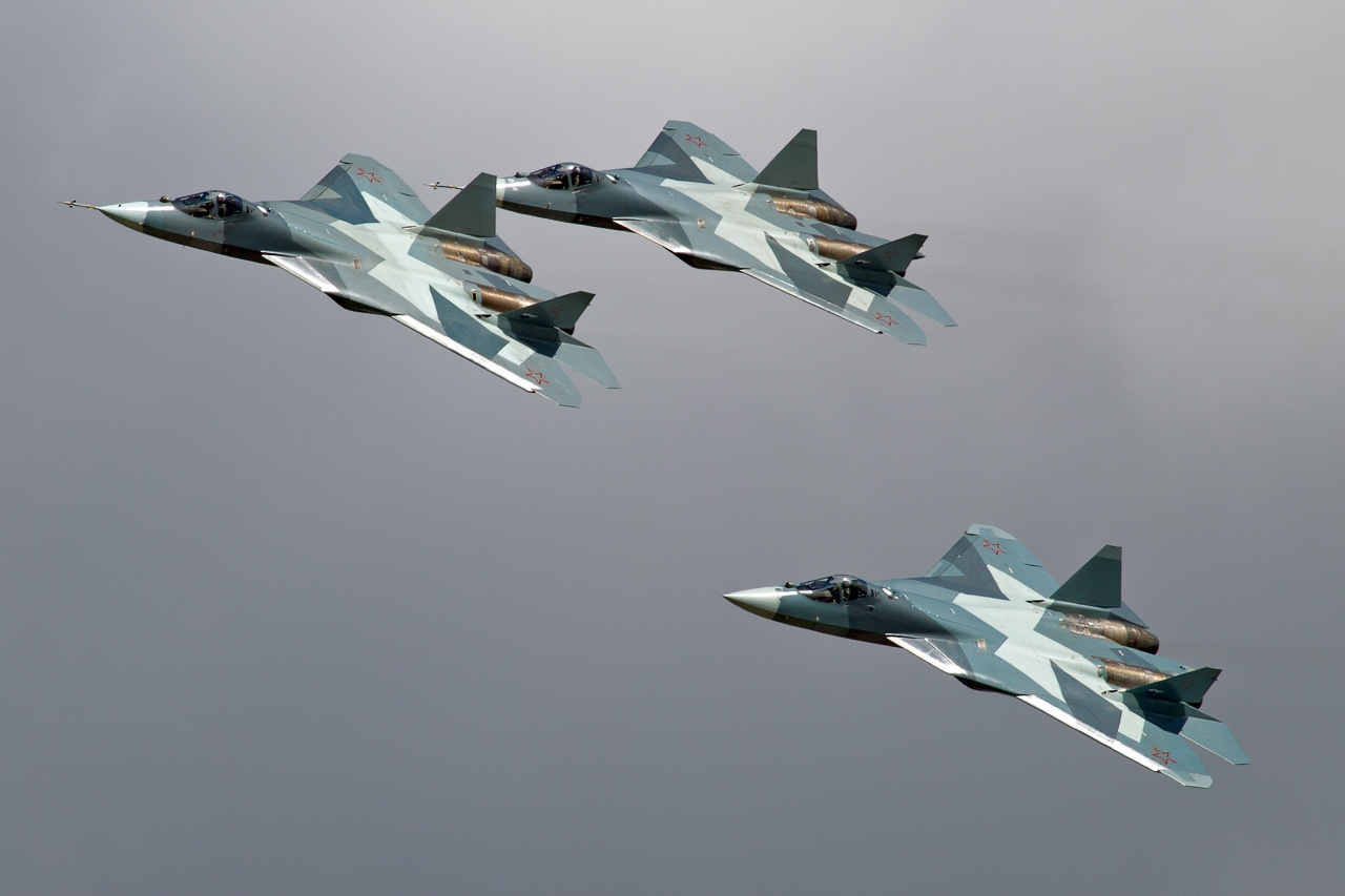 Sukhoi T 50 Of Russian Air Force Lined Up