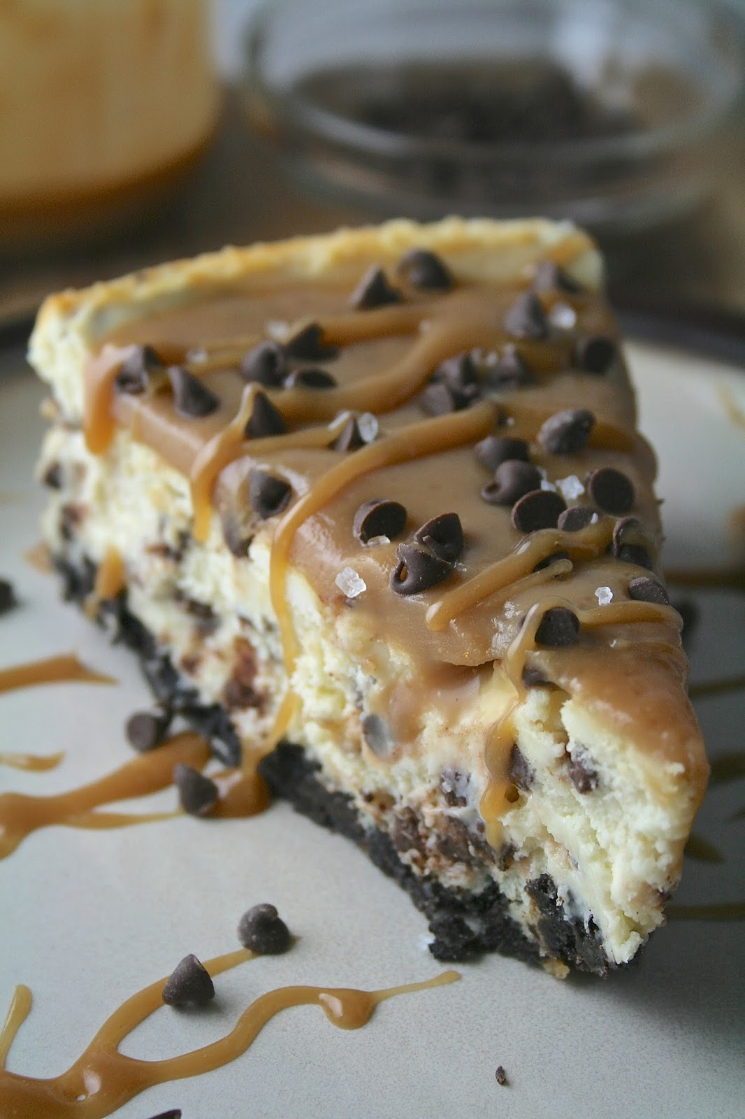 Oregon Transplant Salted Caramel Chocolate Chip Cheesecake