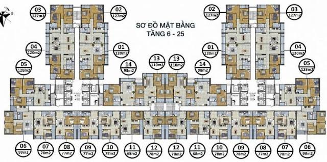 Sơ đồ mặt bằng tầng 6-25 Goldsilk Complex