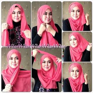 Hijab segi empat trendy untuk wajah bulat