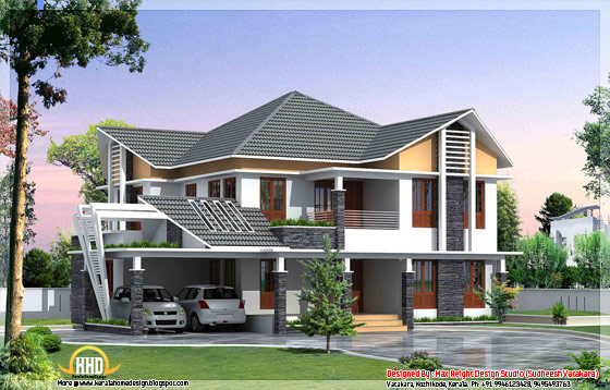 Beautiful Kerala style house elevation 6