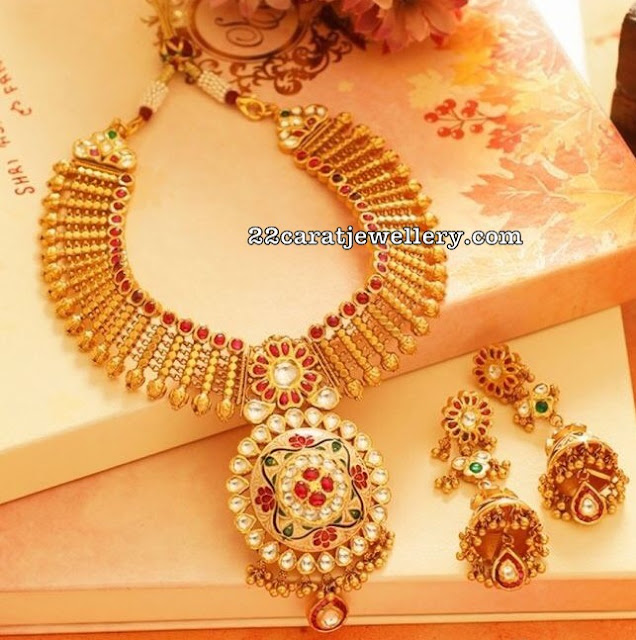 Antique Meena Work Choker Jhumkas