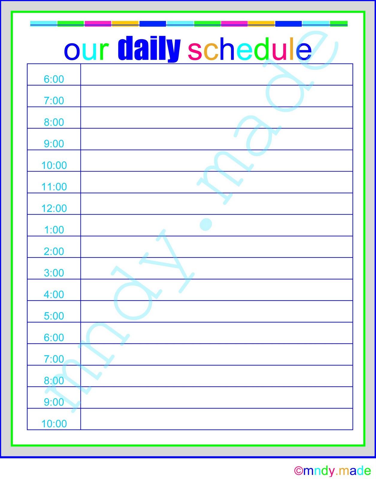 Printable Daily Calendar By Hour Lexu Tk