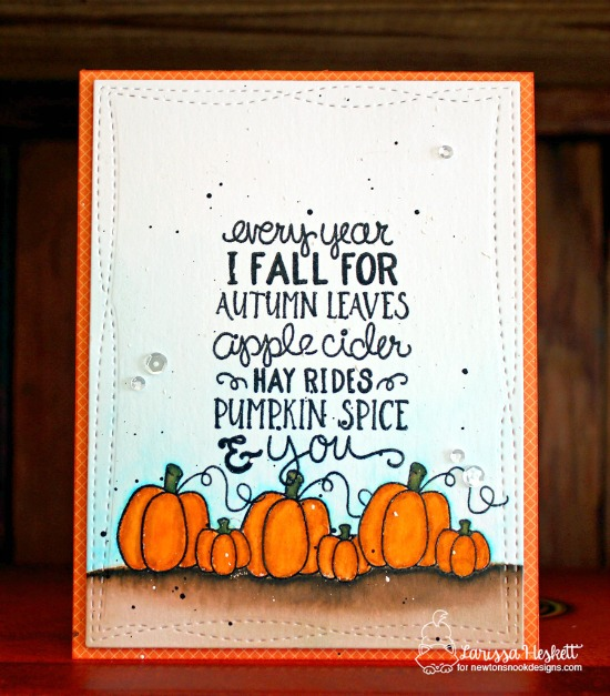 Fall pumpkin card by Larissa Heskett | Fall-ing For You Stamp set by Newton's Nook Designs #newtonsnook #pumpkinspice