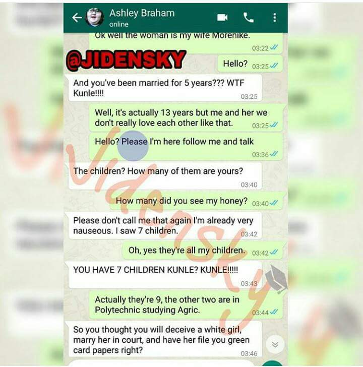 Read This Hilarious But Sad Whatsapp Chat Between An Oyinbo Lady And