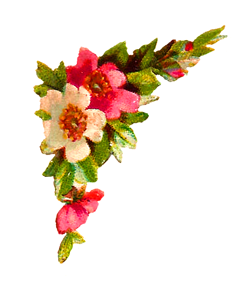 antique digital flower