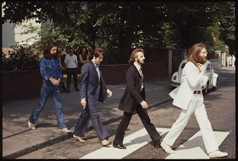 The Beatles at the Abbey Road photo shoot