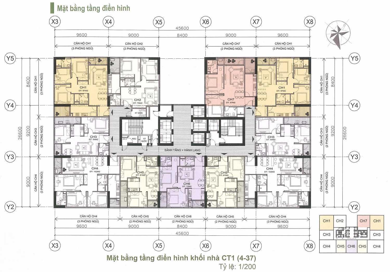 Mặt bằng điển hình căn hộ chung cư A10 Nam Trung Yên
