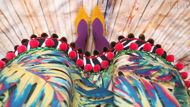 double folds, leaves, monstera, pleated skirt, pompoms, ricrac, spring, Tkaniny Karoliny, tropical, upholstery, velour, zebra,