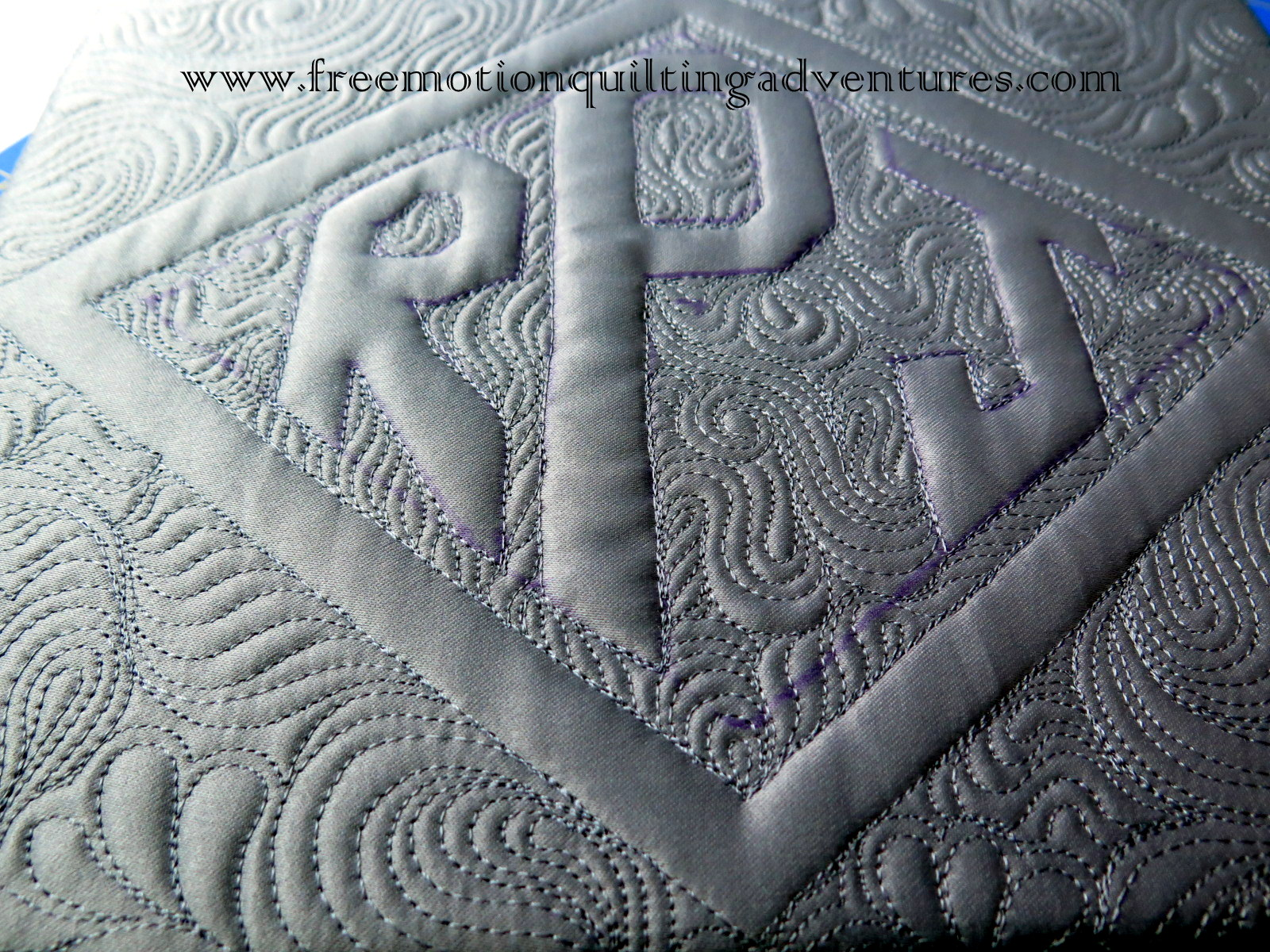 free motion quilting monogram with McTavishing