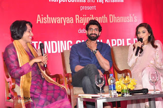 Aiswarya Rajinikanth Dhanush Standing on an Apple Box Launch Stills in Hyderabad  0063.jpg