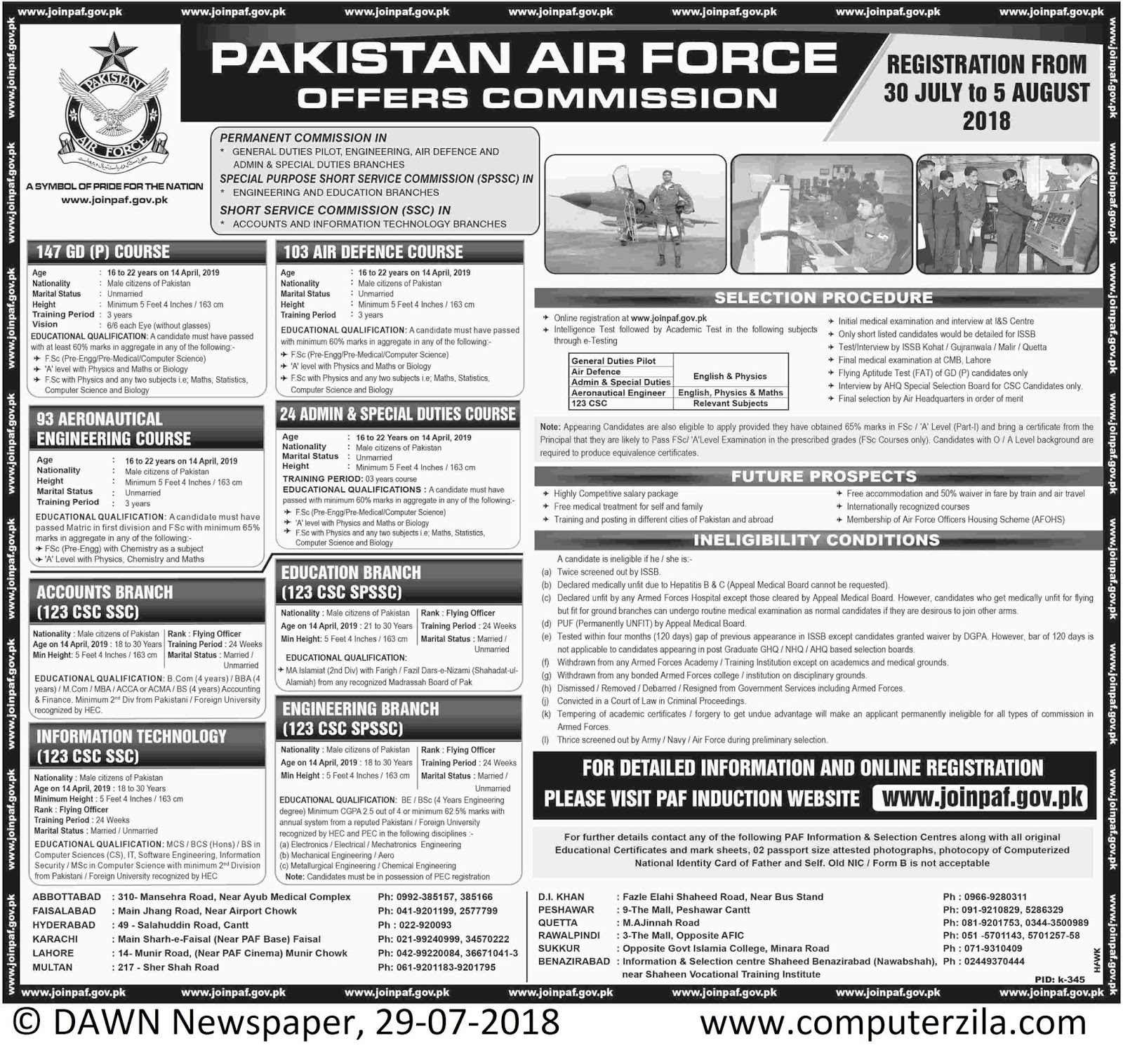 PAF Offers Commission at Pakistan Air Force