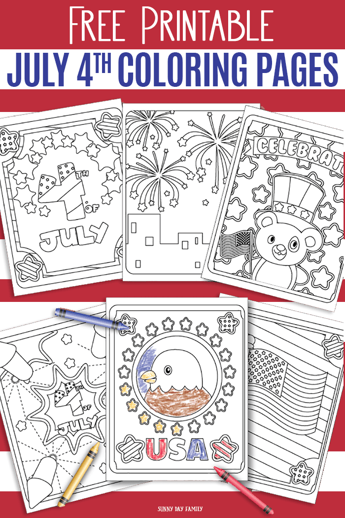 FREE printable July 4th coloring pages for kids! This free set of 6 coloring pages includes fireworks coloring pages, July 4 coloring pages, USA coloring pages, eagle coloring pages, and patriotic coloring pages. Kids will love these free coloring pages for Independence Day! #july4 #coloring #coloringpages #printables #forkids