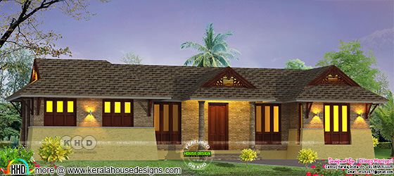 Traditional style single floor sloped roof 3 bedroom house