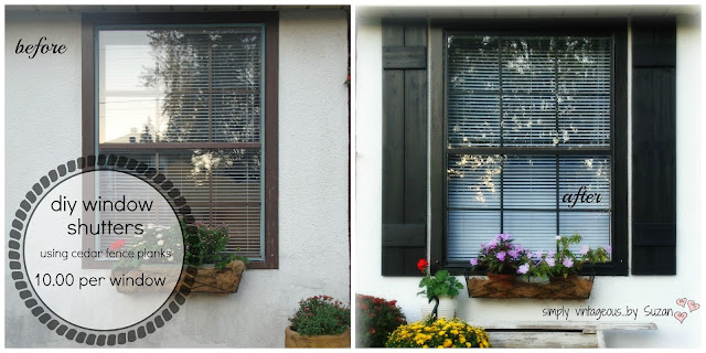 BEFORE & AFTER WINDOW WITH DIY SHUTTERS