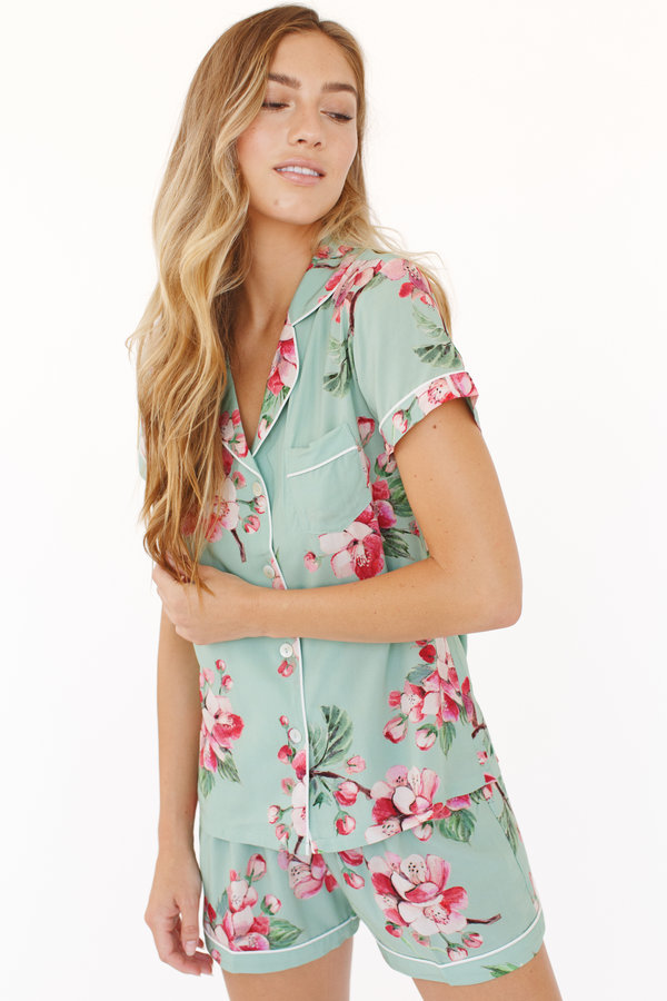 647ac3ff8d8 Tigerlila showcases the prettiest combination of soft green and mixed pink  hues. Perfect to wear for yourself or gift as bridesmaid pajamas or  bridesmaid ...