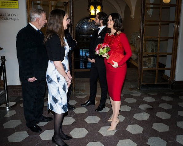 Queen Silvia of Sweden, Prince Carl Philip of Sweden and Princess Sofia of Sweden visits the annual formal meeting of Royal Swedish Academy of Fine Arts.