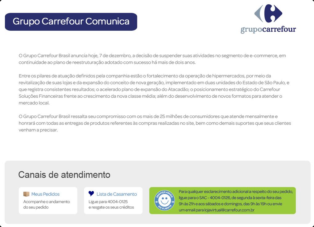 2c1a4b119 Grupo Carrefour fecha loja virtual no Brasil como parte de 'reestruturação'