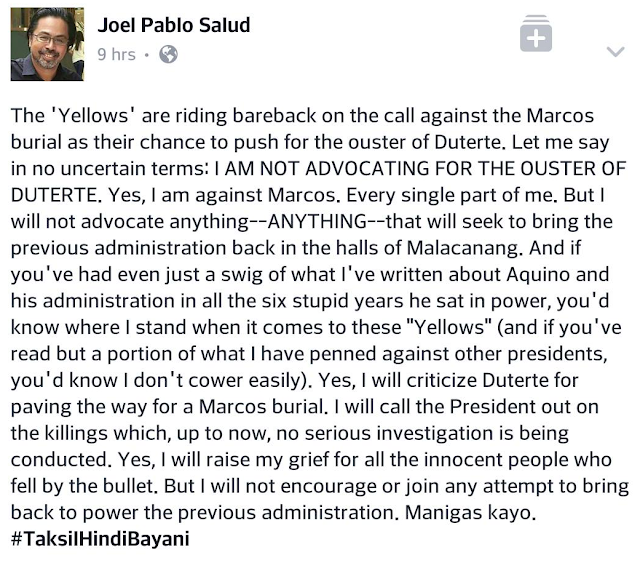 Yellows using Marcos burial for Duterte ouster, says journalist