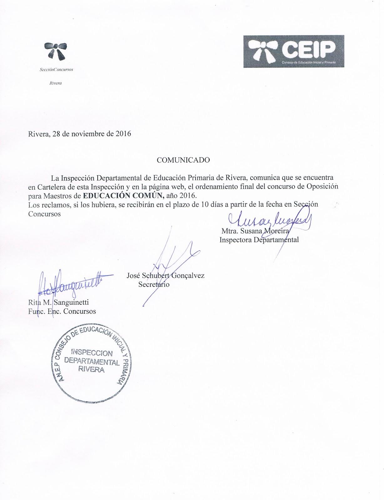 Inspecci n departamental de educaci n primaria rivera for Concurso para maestros