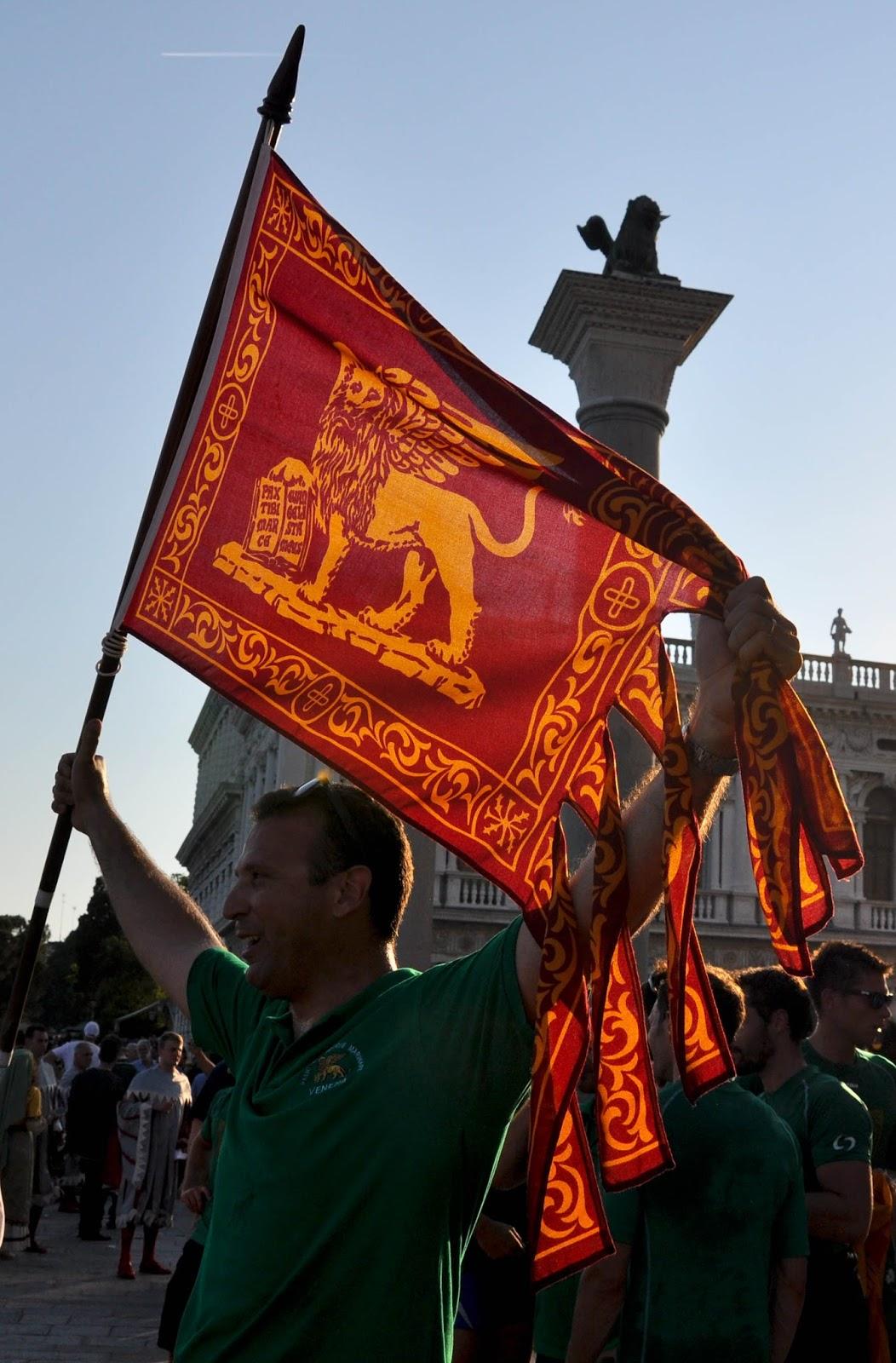 The flag of Venice, Regatta of the Ancient Maritime Republics, Venice, Italy