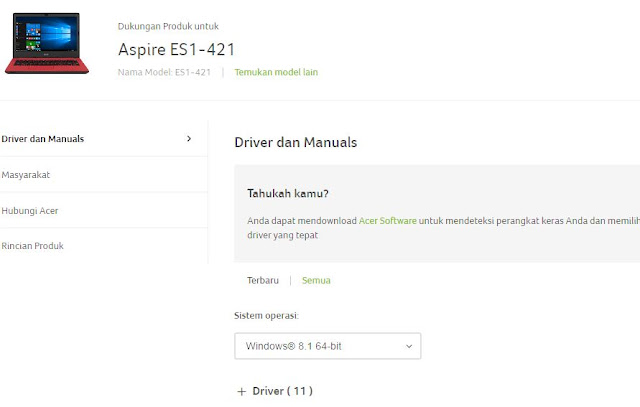 driver ES1-421 Windows 8 64 bit