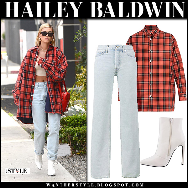 Hailey Baldwin in red checked shirt raf simons, yeezy jeans and white ankle boots tony bianco freddie model street style april 5