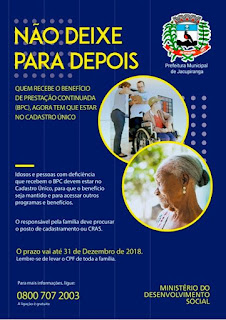 Atenção! Pessoas com deficiência e idosos que recebem BPC