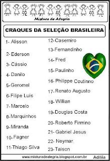 Jogadores da seleção brasileira copa 2018