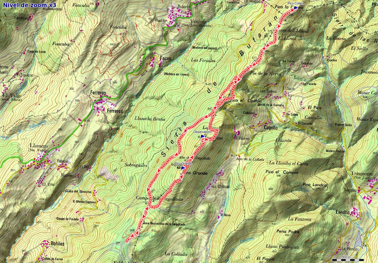 Mapa de la ruta por la sierra Bufarán: Picos Degollada y Cotera