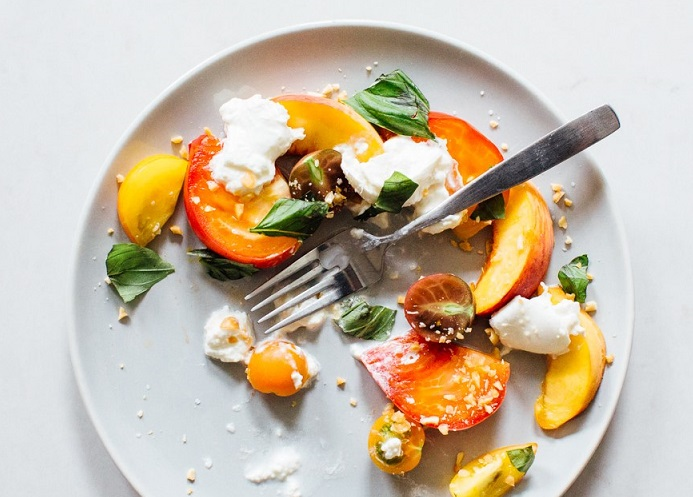 peach, mozzarella, tomato, salad, food, cook, recipe