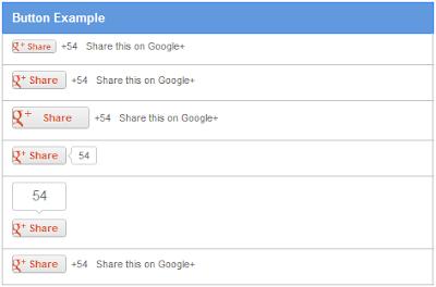 Exemplos de botão do Google+