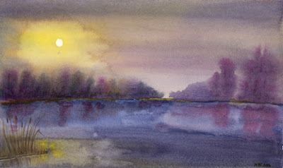 Painting: Sun breaking through the mist #3, Purple Lake