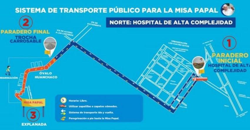 PAPA FRANCISCO EN PERÚ: Estas son las rutas para llegar a la explanada de Huanchaco - Trujillo - www.papafranciscoenperu.pe
