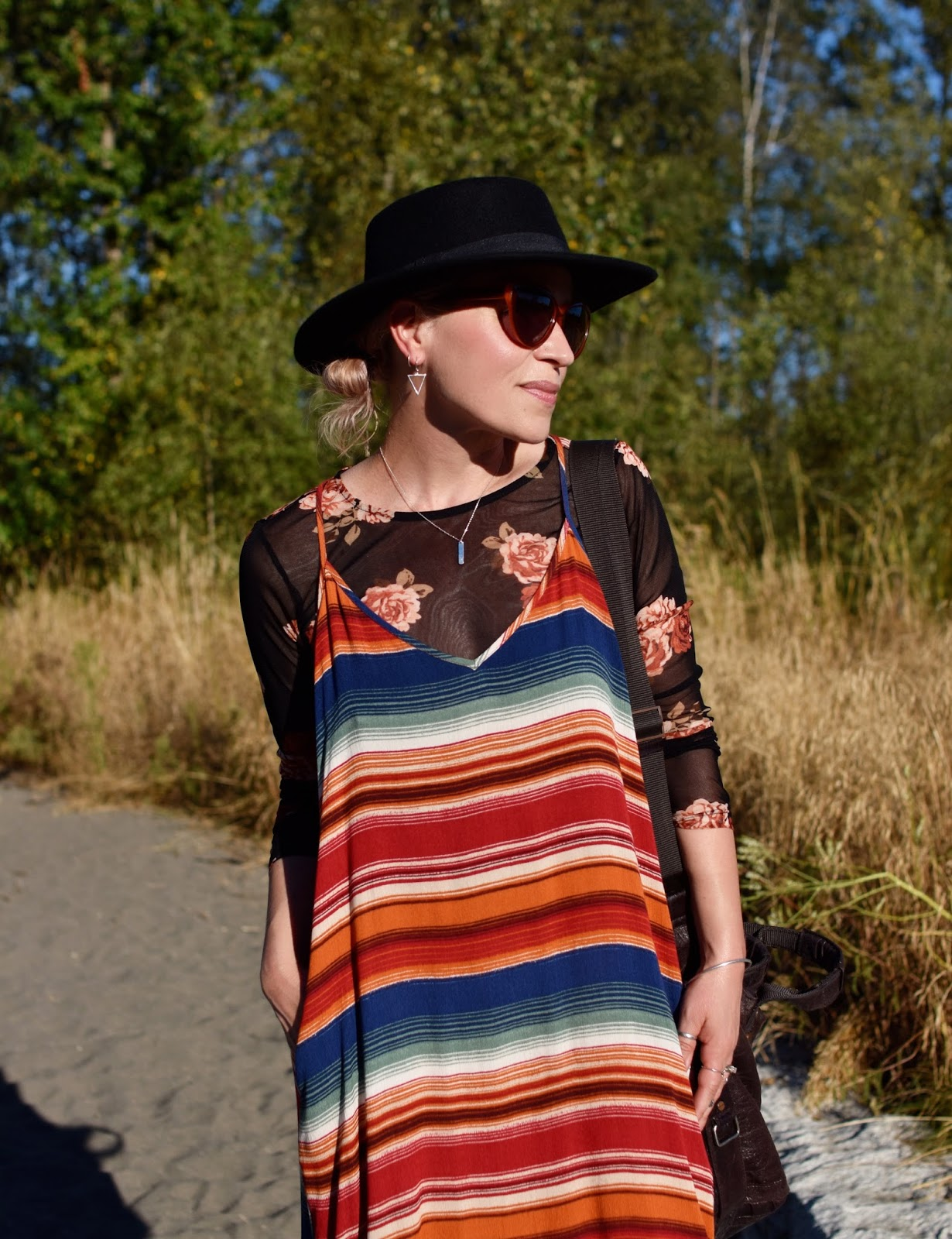 Monika Faulkner outfit inspiration - sheer black floral top, red striped trapeze dress, flat-top fedora, sunglasses