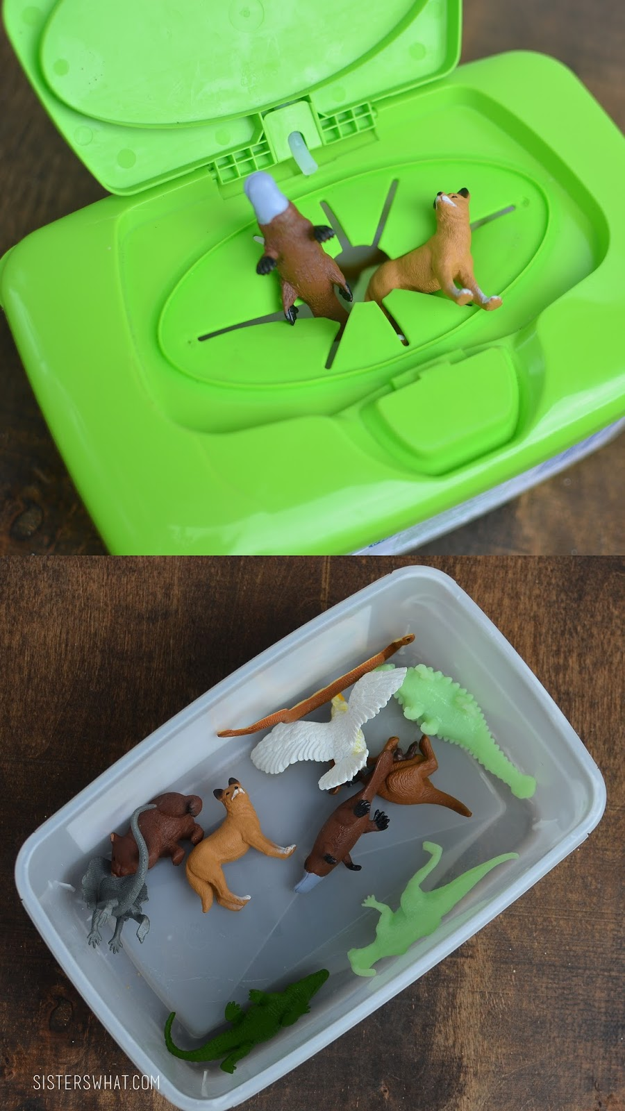 Little Animals and a wipes container; perfect for traveling and quiet time