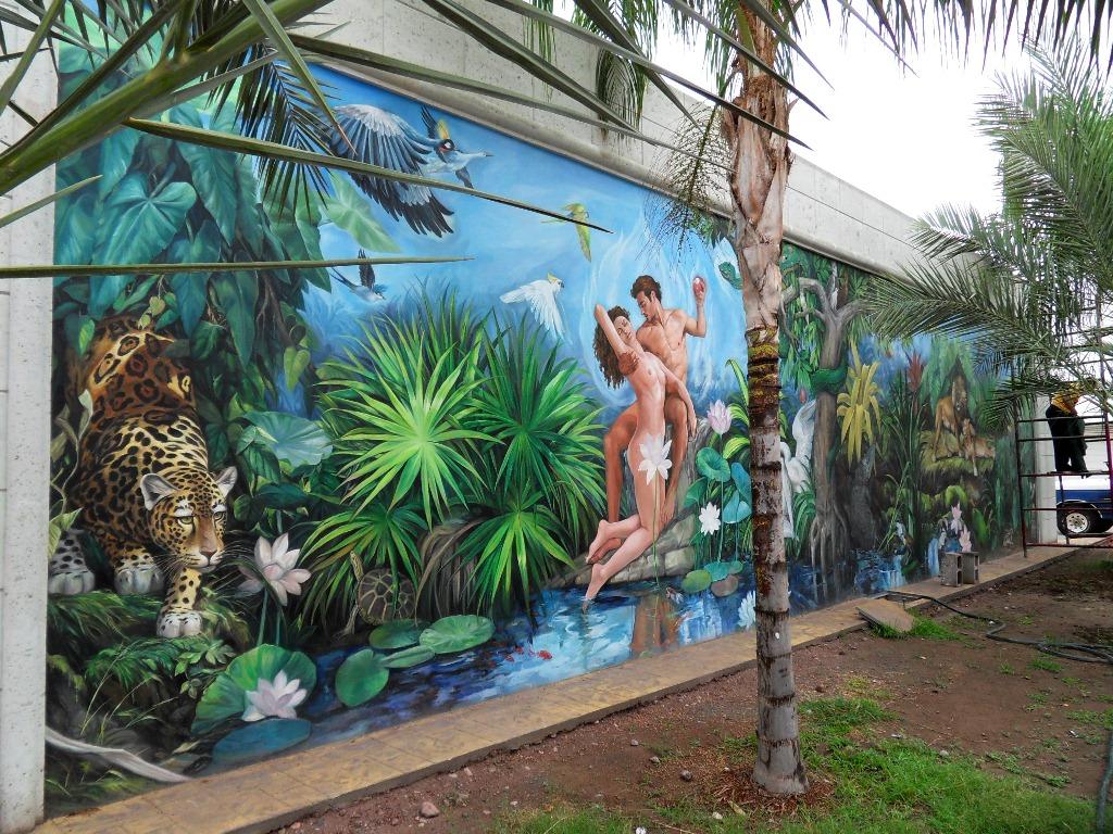 Pinturas cuadros lienzos como preparar pared para mural for Pintar murales en paredes exteriores