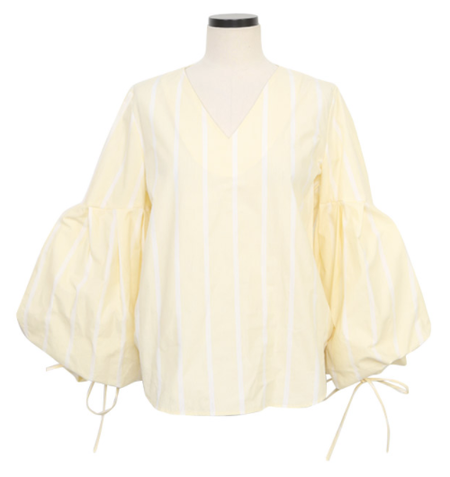 Balloon Sleeve Striped Blouse