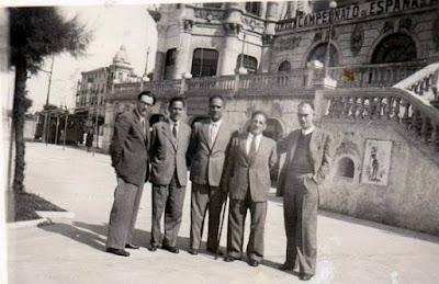 Jugadores andaluces con José Sanz en el Campeonato de España de Ajedrez 1946