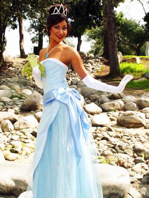 Tiana vestido azul cosplay