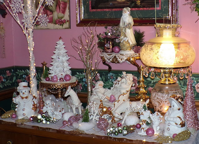 A Pink Victorian Christmas in the Dining Room, 2020