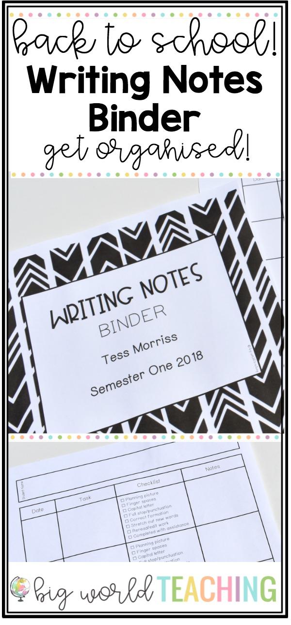 big world teaching back to school be organised writing notes binder
