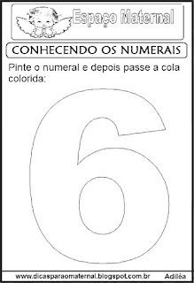 Numeral seis para colorir