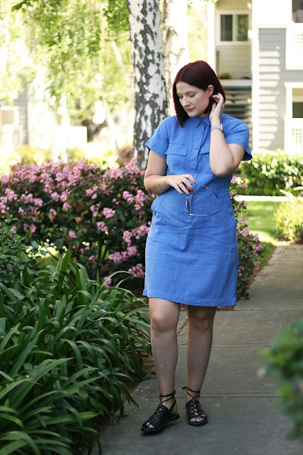 J Crew, blue dress, spring outfit, Jaggar footwear, red hair, outfit ideas, fashion blogger