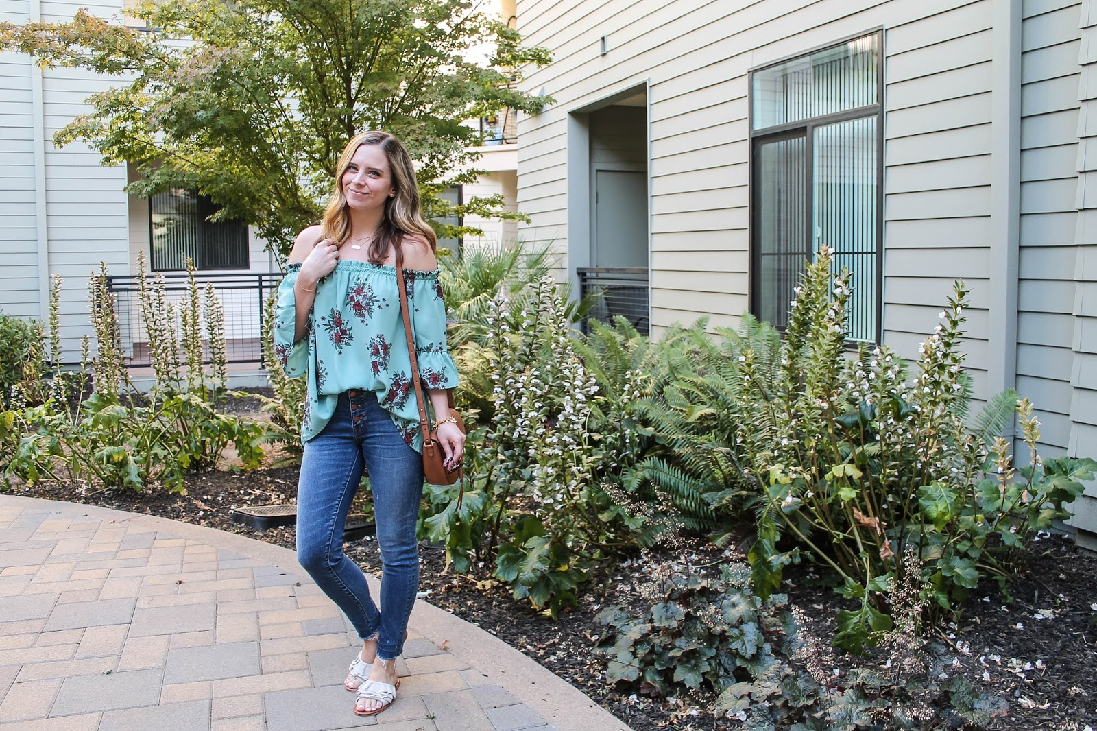 Flower Power weekend look: Off the Shoulder Floral top with Ruffle Slides