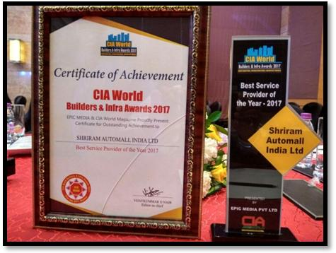 SHRIRAM AUTOMALL WON BEST SERVICE PROVIDER OF THE YEAR AWARD AT CIA WORLD BUILDERS & INFRA AWARD 2017