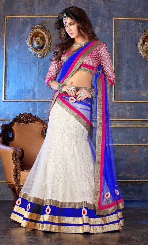 Blue & Off #White Net #Festival #Lehenga, Choli For #Navratri Moksha Fashions