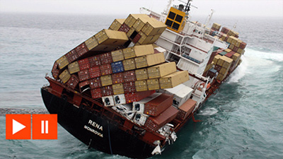 Container Ship Rena sinking – Dramatic Footage