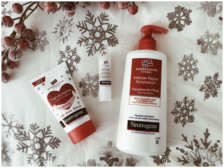 winter skin with neutrogena norwegian formula, body lotion, hand cream, lip moisturizer, winterhaut mit neutrogena norwegische formel, intense repair bodybalsam, handcreme, lippenpflege mit nordic berry, review